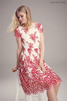 Gina Bacconi Red Dainty Embroidered Scallop Net Dress