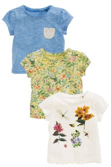 Floral Short Sleeve T-Shirts Three Pack (3mths-6yrs)