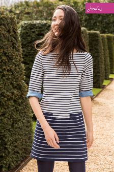 Joules Pier Grey Navy Stripe 3/4 Sleeved Jersey Dress