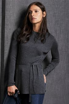 Merino Longline Tie Sweater