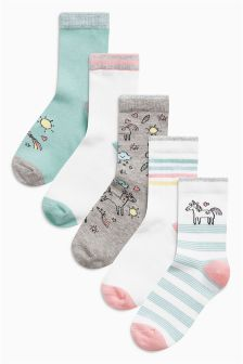 Unicorn Socks Five Pack (Older Girls)