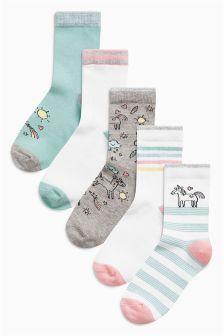 Unicorn Socks Five Pack (Older Girls)
