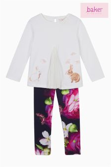 Baker by Ted Baker White Graphic Pleat Top And Legging Set
