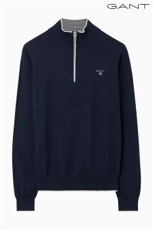Gant Navy Zip Neck Knit Jumper