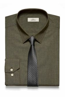 Slim Fit Shirt And Tie Set