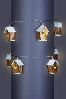 Lit Wooden Snowy House Garland