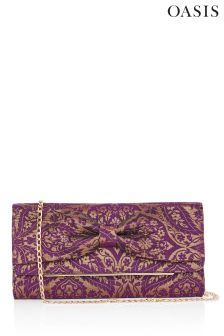 Oasis Purple Jacquard Bow Clutch Bag