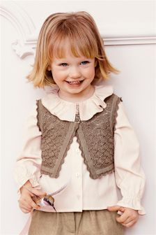 Pointelle Waistcoat And Blouse Set (3mths-6yrs)