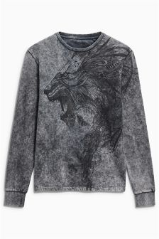 Acid Wash Lion Sweatshirt