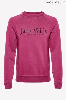Jack Wills Burgundy Logo Crew Sweatshirt