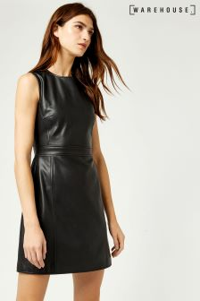 Warehouse Black Faux Leather Dress