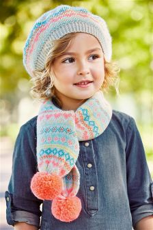 Fairisle Pattern Beret, Scarf And Mitten Set (Younger Girls)
