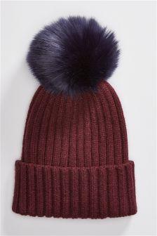 Rib Knit Pom Hat