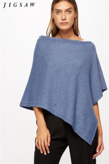Jigsaw Blue Knitted Ribbed Border Poncho