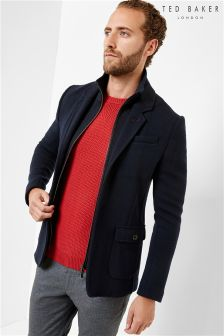 Ted Baker Navy Zip Out Jersey Blazer