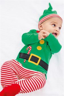 Elf Christmas Dress Up Velour Sleepsuit And Hat (0mths-2yrs)