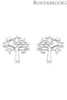 Beaverbrooks Silver Tree Stud Earrings