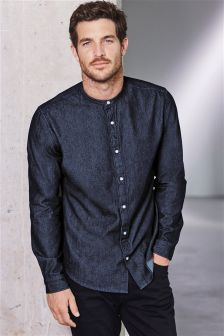 Raw Denim Grandad Shirt