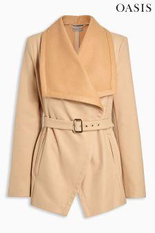 Oasis Tan Chloe Belted Drape Jacket