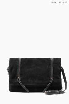 Mint Velvet Black Olivia Suede Zip Fold Over Cross Body Bag