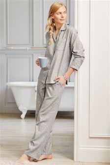 Button Through Star Print Pyjamas