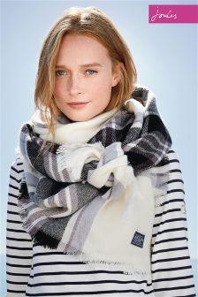 Joules Heyford Check Soft Handle Oversized Woven Scarf
