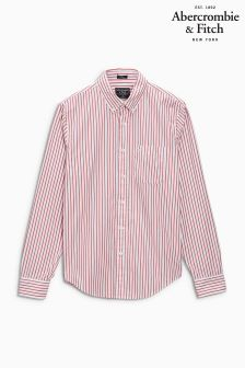 Abercrombie & Fitch Red Fine Stripe Shirt