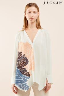 Jigsaw Cream Floating Poppy Trapeze Blouse