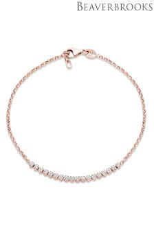 Beavebrooks Silver Rose Gold Plated Cubic Zirconia Bracelet