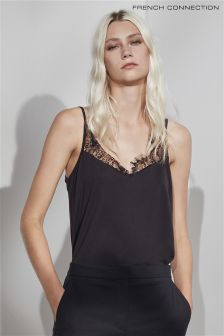 French Connection Black Swift Drape Strappy Vest Top
