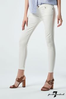 7 For All Mankind Cream Ankle Skinny Jean