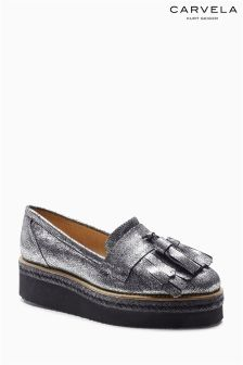 Carvela Lou Silver Metallic Platform Brogue