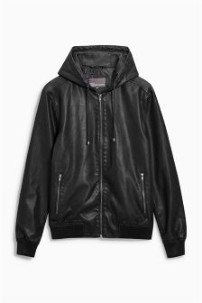 PU Hooded Jacket