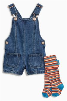 Dungarees And Tights Set (3mths-6yrs)