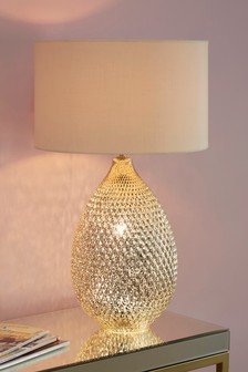 Champagne Glamour Glass Dual Light Source Table Lamp