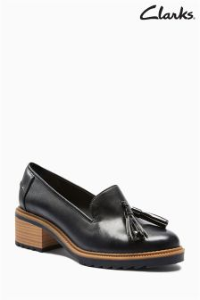 Clarks Black Wood Heeled Loafer