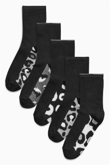 Animal Print Footbed Socks Five Pack