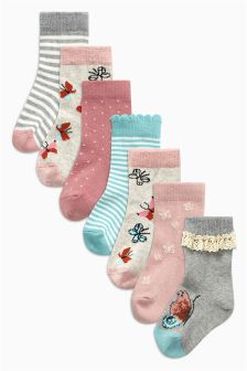 Butterfly Socks Seven Pack (Younger Girls)