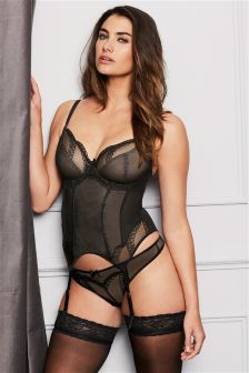 Pearl Non Padded Sparkle Detail Plunge Basque