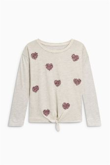 Sequin Beaded Heart Tie Front Top (3-16yrs)