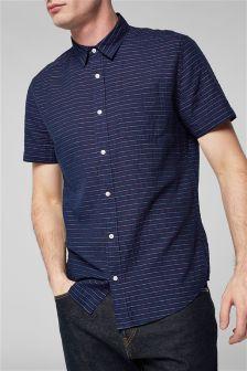 Short Sleeve Texture Stripe Shirt