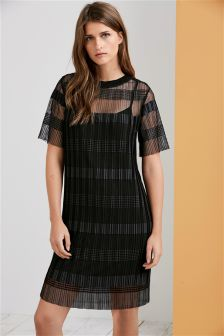 Pleated Mesh Dress