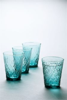 Set Of 4 Teal Pressed Tumblers