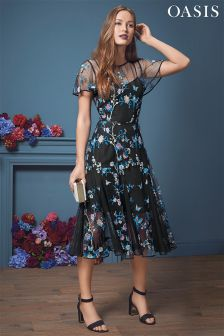 Oasis Embroidered Midi Dress