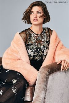French Connection Peach Leonie Faux Fur Jacket