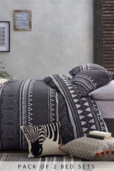 2 Pack Sketched Stripe Bed Set