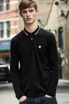 Pretty Green Black Long Sleeve Polo