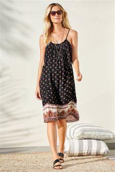 Black Geo Print Short Dress