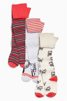 Cat And Stripe Tights Three Pack (0mths-6yrs)