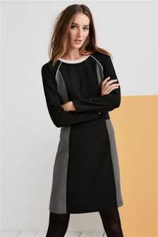 Colourblock Long Sleeve Dress